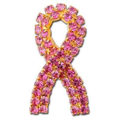 Pink Stones Ribbon Pins